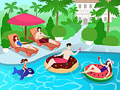 Swimming pool party for family and friends at luxury villa resort, summer vacation vector illustration