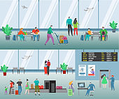 People in airport vector illustration. Cartoon flat man woman travel characters with baggage waiting flight, family passenger airline set