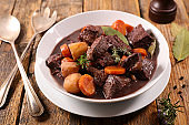 beef stew with carrot and wine sauce