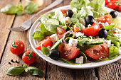 vegetable salad with tomato, olive, feta cheese and cucumber