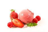 strawberry ice cream isolated on white background