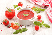 tomato sauce or tomato gazpacho and basil