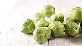 close up on raw brussels sprouts