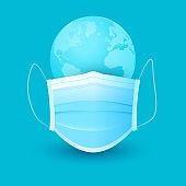 Medical mask against a virus and globe on blue background. Minimal concept vector illustration