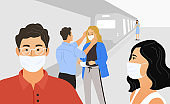 Coronavirus 2019-nC0V, COVID-19, Wuhan Novel. People in protective medical masks. Flat vector illustration