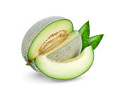 green cantaloupe or melon with green leaf isolated isolated on white background