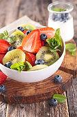 mixed fruit salad with strawberry, blueberry and kiwi