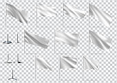 Mockups of white flags. Vector