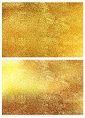 Gold foil texture backgrounds. Vector set.