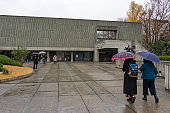 National Museum of Western Art in rainy day at Ueno Park in Tokyo.
