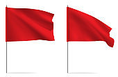 Red clean horizontal waving template flag.