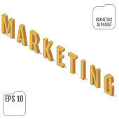 The word MARKETING written in the isometric alphabet.