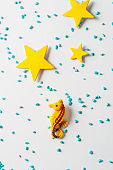 seahorse and yellow stars, summer time minimal concept