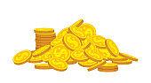 Mountain gold coins stacks flat cartoon vector
