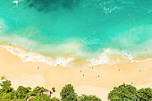 Sand beach turquoise sea water Summer holidays travel background