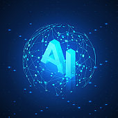 AI hologram in Global Network. Artificial intelligence isometric banner. AI header. Futuristic Technology background. Vector