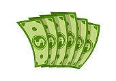 Six bills folded fan money cartoon dollar vector