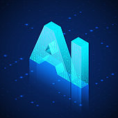 AI hologram. Artificial intelligence isometric banner. Technology background. Vector