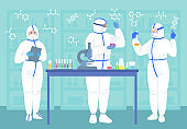Scientist men women in lab masks protective suits
