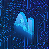 AI hologram on circuit background. Isometric Artificial intelligence concept. Blue Technology background. Machine learning. Vector