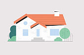 Facade of town house or cottage in modern style. Modern building with large windows isolated on white background, around green bushes and trees. Flat style vector illustration.