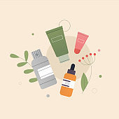 The concept of organic natural cosmetics composition. Tubes of lotion, oil, cream, scrub, serum in glass. On the background of green leaves, plants, tropical leaves. Flat style vector illustration.