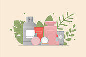 Care cosmetic standing on shelf. Perfume, tubes of lotion, oil, cream, scrub, serum. The concept of organic natural cosmetics. Flat style vector illustration, green leaves, plants, tropical leaves.