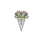 Rose flowers bouquet in triangle box packaging - flat color line icon on isolated white background. Bunch of flowers in a container - vector illustration in simple linear design.