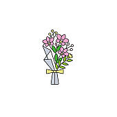 Orchid flower stylish bouquet wrapped in paper - flat color line icon on isolated white background.