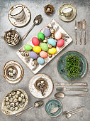 Easter still life colored eggs decoration