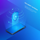 Security and protection private data. Mobile phone with shield hologram security system concept. Vector isometric illustration