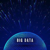 Big data visualization. Data streams around global network. Futuristic technology blue background. Vector illustration