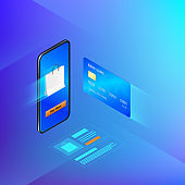 Banking online service in mobile app. Money transfer or internet shopping concept. Credit card and mobile phone. Vector isometric banner