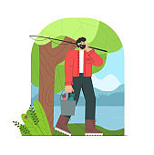 Fisherman cartoon character with beard finished fishing, holding a bucket of fish. Beautiful forests, lake and mountain. Flat style vector illustration.