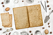 Old recipe book mockup Food background flatlay