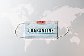 covid-19, quarantine. Surgical mask with a map of the world, Coronavirus pandemic