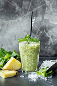Fresh pineapple mint leaves ice smoothie Healthy food