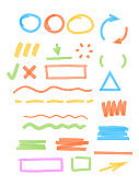 Colored marker highlights. Drawing strokes elements round and square frames transparent stripped lines scribble vector templates