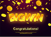 The gold word Big Win