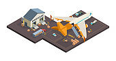 Cargo aircraft. Loading airplane packages and containers airport truck refueling vector isometric cargo transport