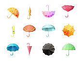 Umbrella. Collection of autumn protection flexibility umbrellas rain symbols vector set