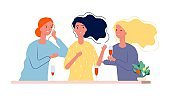 Girlfriends. Women meeting in cafe or restaurant. Female evening, girls talking, gossip and laughing vector illustration