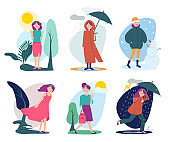 Woman weather. Seasonal people walking with umbrella summer cold rainy shiny windy outdoor vector person