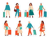 Traveling people, business trip, tourism. Collection of happy young and senior gray haired  women of diverse nationalities standing with suitcases and travel bags. Set of vector illustrations
