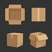 Cardboard box. Paper box different point views transporting package realistic vector mockup
