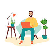 Happy smiling man sitting in the armchair with a laptop. The concept of remote work, home office, e-learning. Programming, freelancing, distance education. Vector illustration