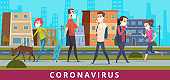 Coronavirus. People in city air nCoV virus protection walking in mask pollution vector healthcare medical concept cartoon background