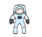 Astronaut icon in color drawing
