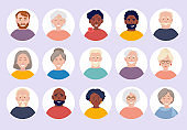 Elderly people avatars. Old person faces for web cv or id doc vector characters portraits collection