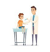 Children vaccination. Pediatrician, kids virus protection. Doctor with syringe and little boy, flu disease prevention vector illustration